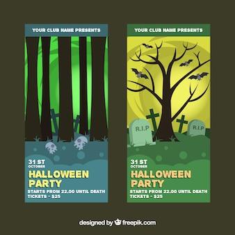 Banners de fiesta de halloween con árboles y tumbas