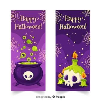Banners de fiesta de halloween plano de bruja