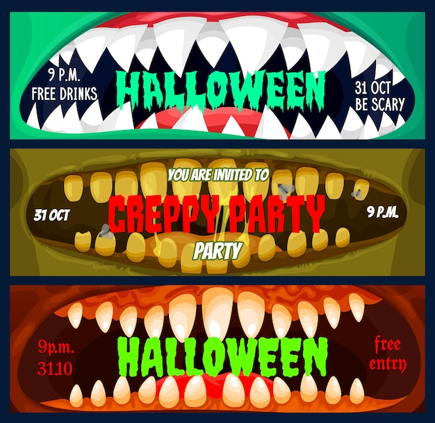 Banners de fiesta de halloween, plantilla de pases de entrada