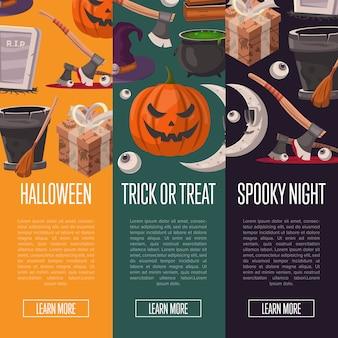 Banners de fiesta de halloween con zombies lindos
