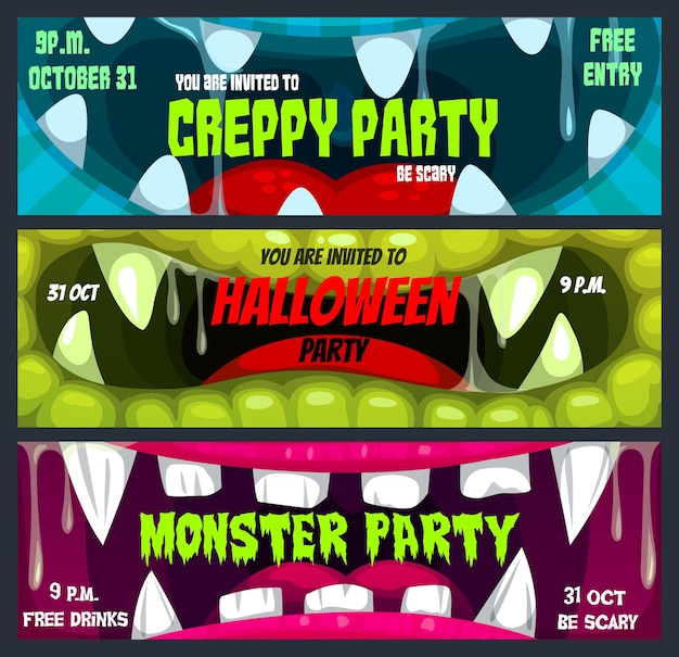 Banners de fiesta de noche de terror de halloween con monstruos