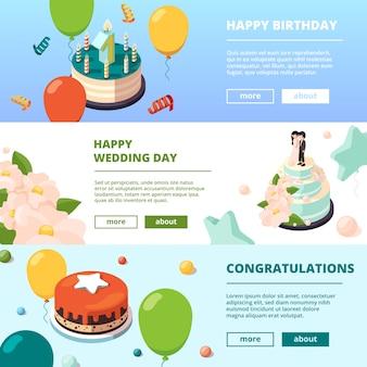 Banners de fiesta tartas de cumpleaños fotos en color tarjetas de presentación de eventos para niños fondos