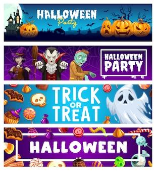 Banners de fiesta de terror de truco o trato de vacaciones de halloween. calabazas aterradoras, fantasmas, brujas, drácula vampiro y zombi, luna, murciélagos, casa embrujada y cementerio, dulces de chocolate, gelatinas, piruletas