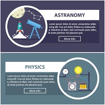 Banners de física y astronomía con el concepto de equipamiento científico.