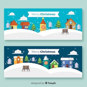 Banners flat de navidad