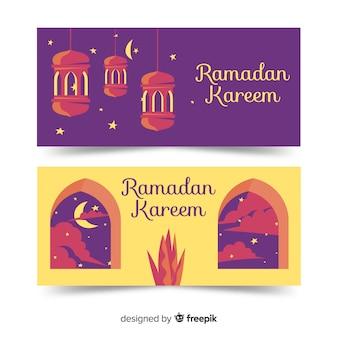Banners flat de ramadán