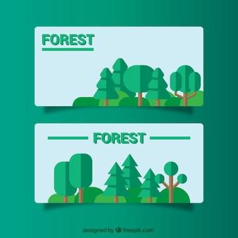 Banners flat sobre bosques