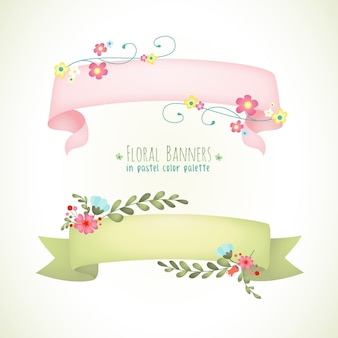 Banners florales en color pastel