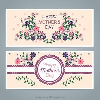 Banners florales del día de la madre