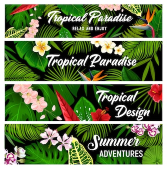 Banners de flores y plantas tropicales, tarjetas.