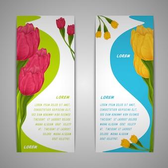 Banners de flores de tulipán