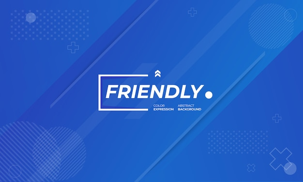 Banners de fondo moderno con expresiones amigables en azul