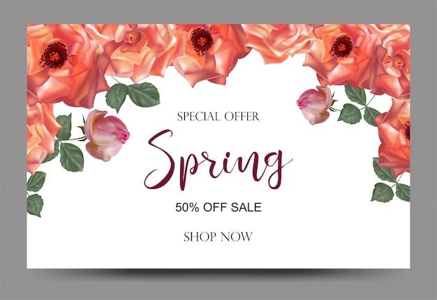 Banners de fondo de venta de primavera