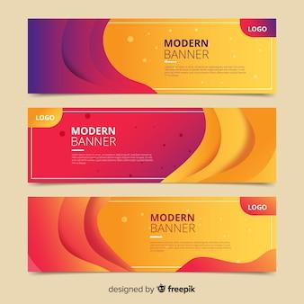 Banners de formas onduladas abstractas