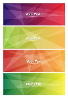 Banners con formas poligonales a todo color.