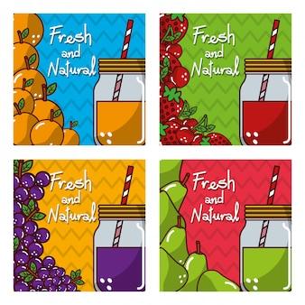 Banners de frutas frescas y nutrición natural.