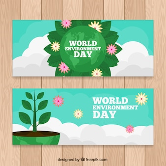 Banners geniales con plantas y nubes para el día mundial del medioambiente