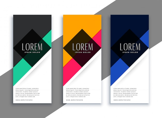 Banners geométricos abstractos en diferentes colores.