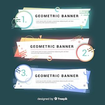Banners geométricos coloridos abstractos