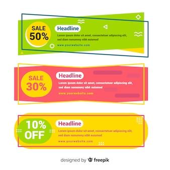 Banners geométricos coloridos de ventas