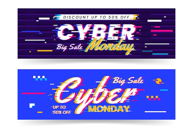 Banners de glitch cyber monday