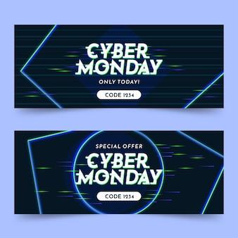 Banners de glitch cyber monday