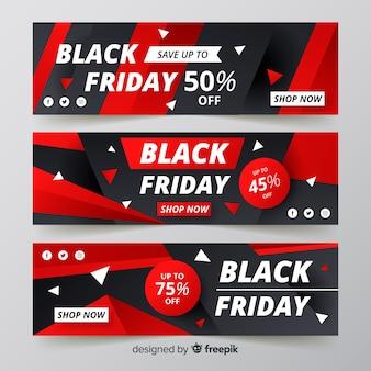 Banners de gradiente viernes negro