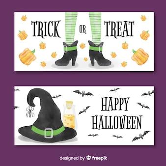Banners de halloween adorables en acuarela