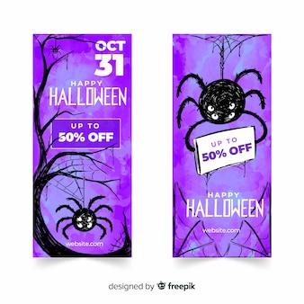 Banners de halloween de araña púrpura acuarela