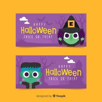 Banners de halloween con bruja y monstruo frankenstein
