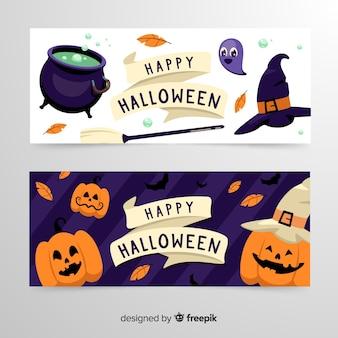 Banners de halloween de brujería y calabazas