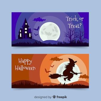 Banners de halloween de brujería y casa embrujada