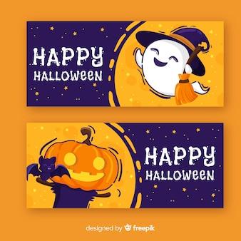 Banners de halloween coloridos dibujados a mano