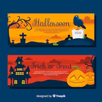 Banners de halloween coloridos con diseño plano