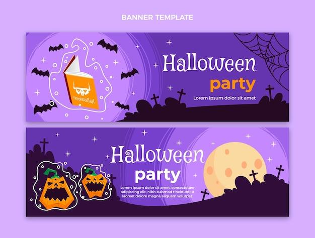 Banners de halloween de diseño plano dibujados a mano horizontales