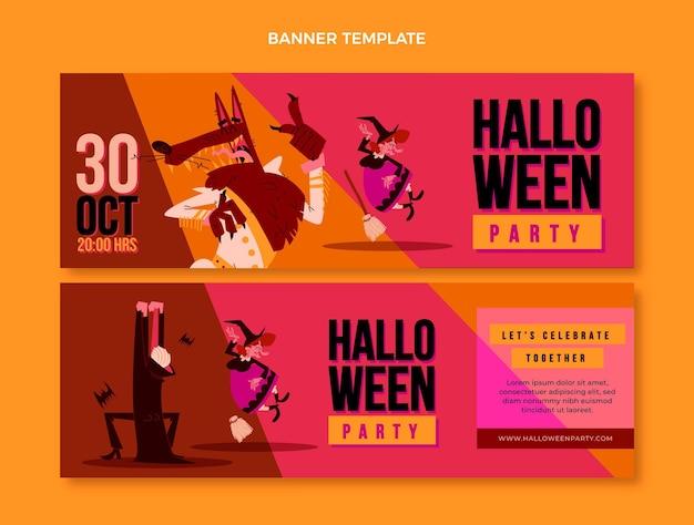 Banners de halloween de diseño plano horizontales