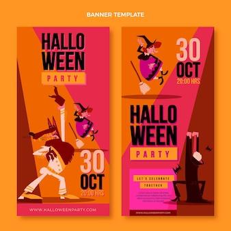 Banners de halloween de diseño plano verticales