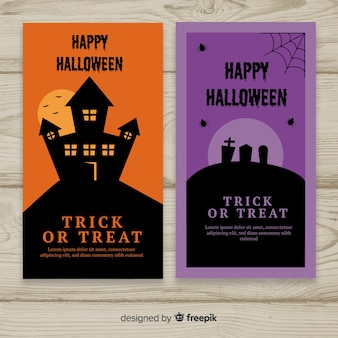 Banners de halloween con diseño plano