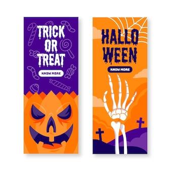 Banners de halloween de diseño plano