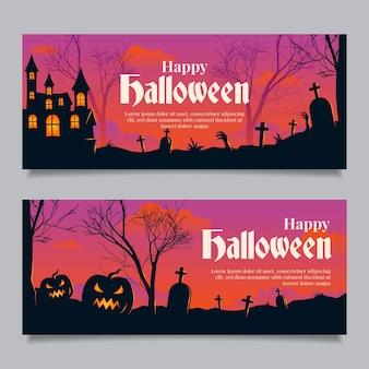 Banners de halloween en diseño plano