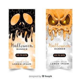 Banners de halloween espeluznante acuarela