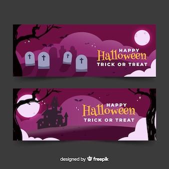 Banners de halloween espeluznante con casa y cementerio