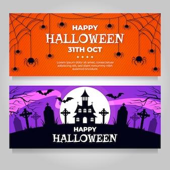 Banners de halloween establecer tema