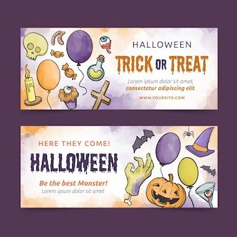 Banners de halloween estilo acuarela