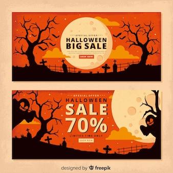 Banners de halloween de luna llena vintage