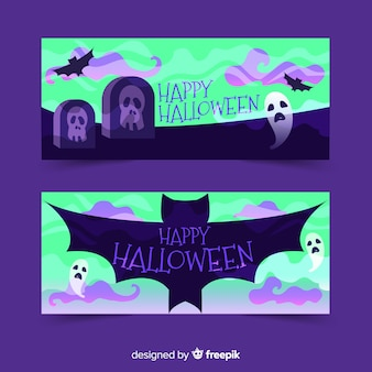 Banners de halloween de monstruos de cementerio