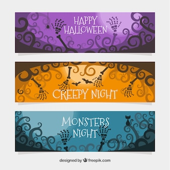Banners de halloween con muertos vivientes