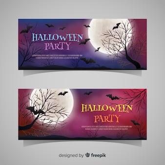 Banners de halloween con murciélagos y árboles