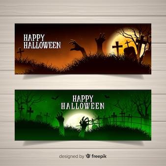 Banners de halloween terroríficos con diseño realista