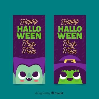 Banners de halloween con vampiros y brujas en diseño plano